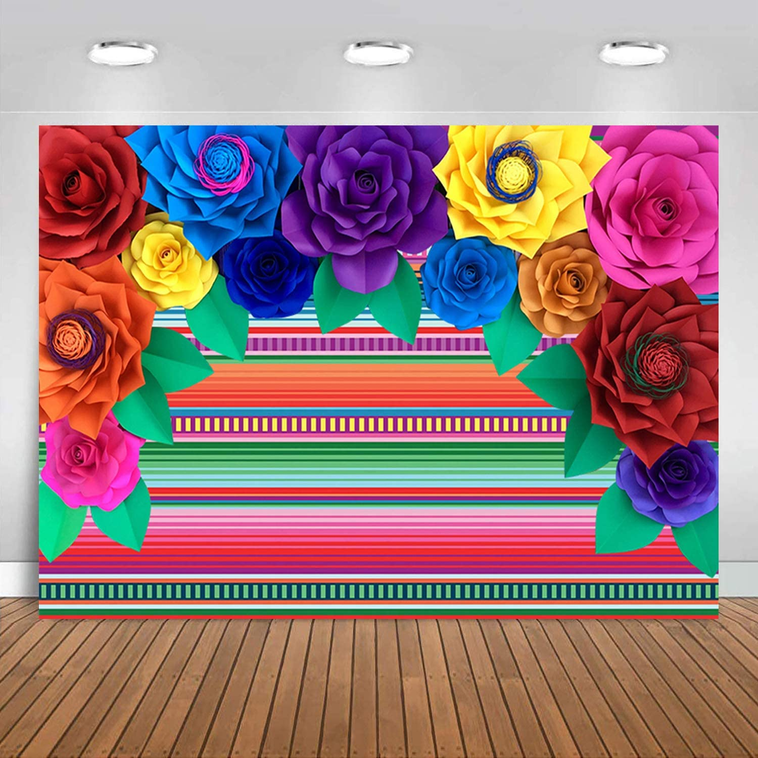 Sensfun Fabric Mexican Fiesta Theme Party Stripe Backdrop Colorful Striped Paper Flower Photography Background for Cinco De Mayo Festival Carnival Event Table Decor Banner PhotoBooth Shoot Props 7x5ft
