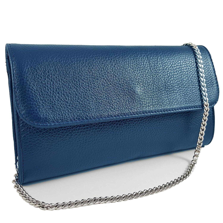 Freyday Echtleder Damen Clutch Tasche Abendtasche Muster Metallic 25x15cm FC11