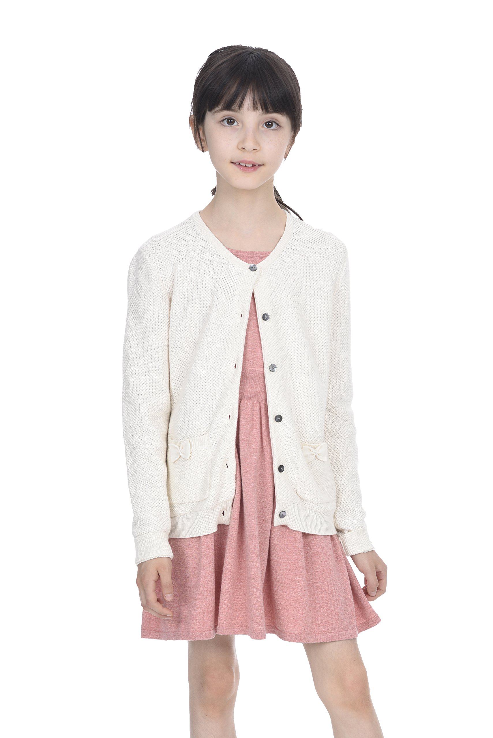 State Cashmere Girl's Cotton Cashmere Crewneck Knitted Button Long Sleeve Cardigan Sweater