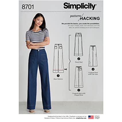 8c189dc1d5 Amazon.com: Simplicity Creative Patterns US8701U5 Misses' Pants with Options  for Design Hacking Pattern