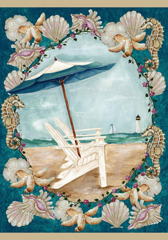 Toland Home Garden Sea Breeze 12.5 x 18 Inch Decorative Summer Beach Adirondack Vacation Seashell Garden Flag