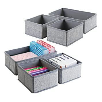 mDesign Juego de 6 cajas organizadoras para oficina ? Separadores de cajones de tela para material