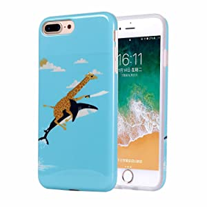 iPhone 8 Plus Case with IMD Technology [Ultra-Thin] [Anti-Slip] [Anti-Scratch] [Supports Wireless Charging] for Apple iPhone 7 Plus/iPhone 8 Plus (Cute Giraffe Riding Shark)