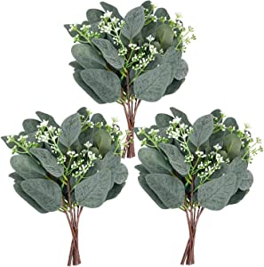 Whonline 20pcs Artificial Eucalyptus Leaves Stems with White Seeds Short Silver Dollar Faux Eucalyptus Branches Greenery Plants for Floral Bouquets Wedding Holiday Decor