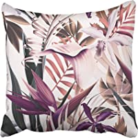 Emvency Throw Pillow Covers Cases Decorative 16x16 Inch Colorful Floral Tropical Flower Plant and Leaf Pattern Green...