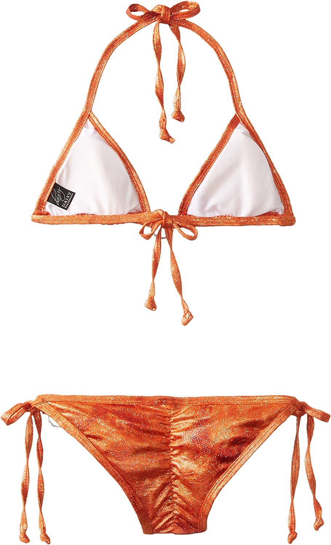 Daisy Beachwear Orange Glitter Pucker Back Bikini w//Rhinestones Large