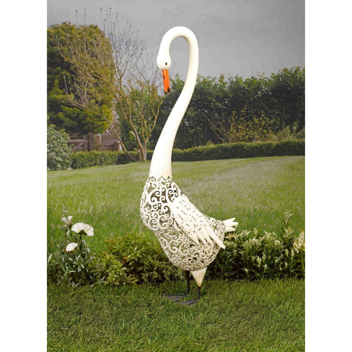 Smart Solar Metal Silhouette Swan Garden LED Ornament Light