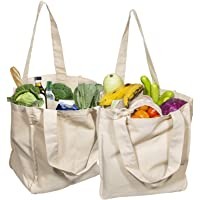 Best Canvas Grocery Shopping Bags with Bottle Sleeves