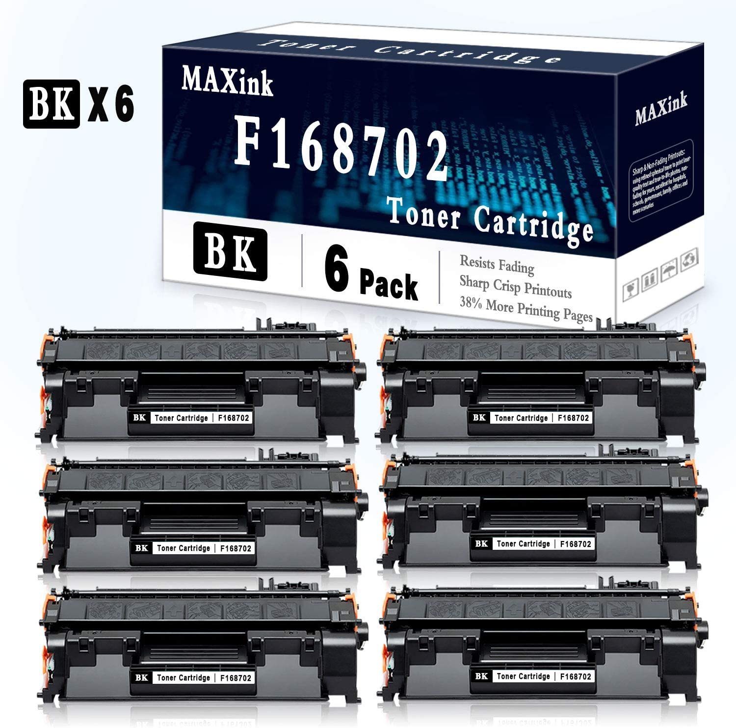 6 Pack Black Toner Cartridge Compatible for Canon F159502 Printer Toner Cartridge-Sold by MAXink