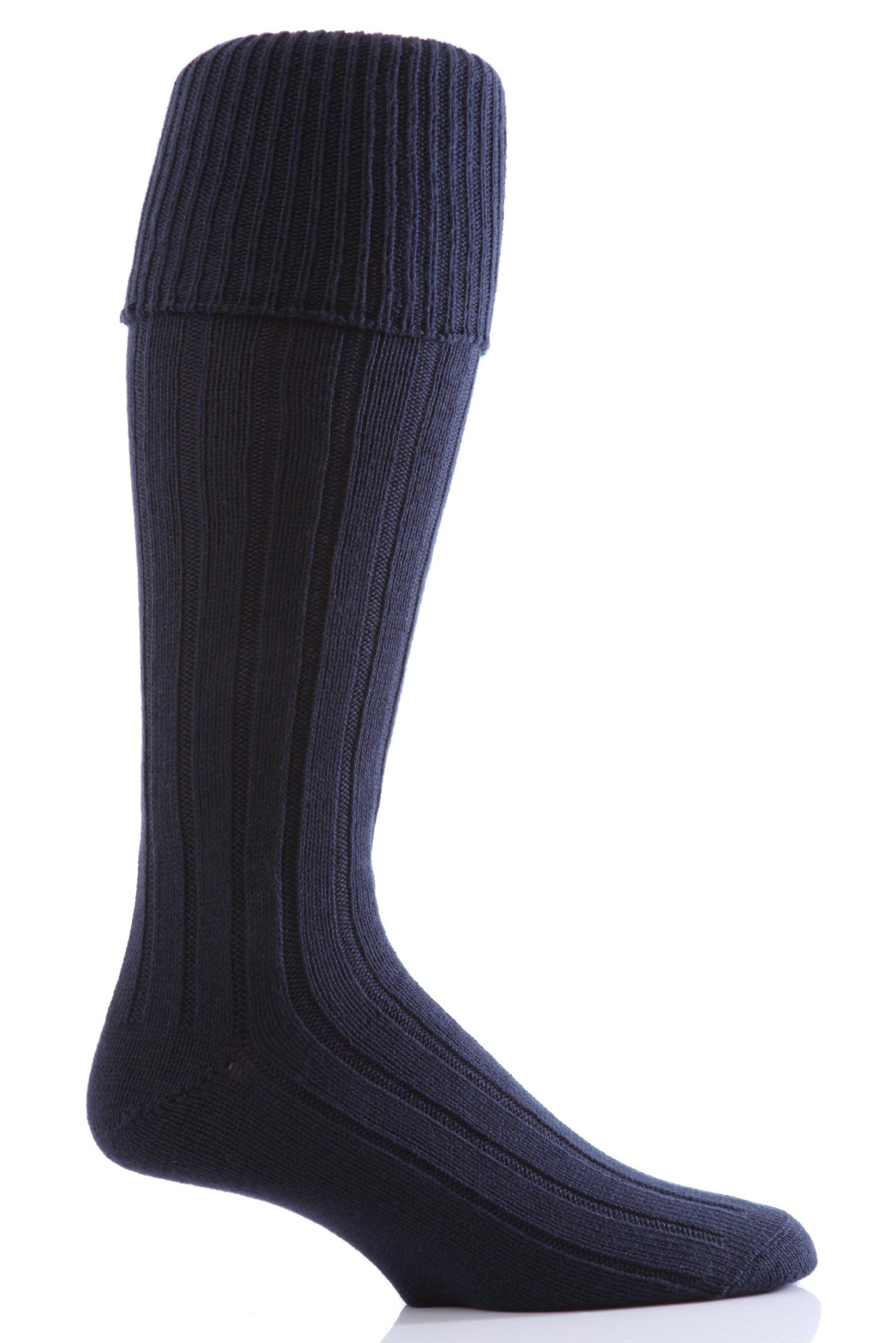 Glenmuir Men's 1 Pair Birkdale Golf Wool Knee High Socks with Turn Over Cuff 8-12 Navy by Glenmuir