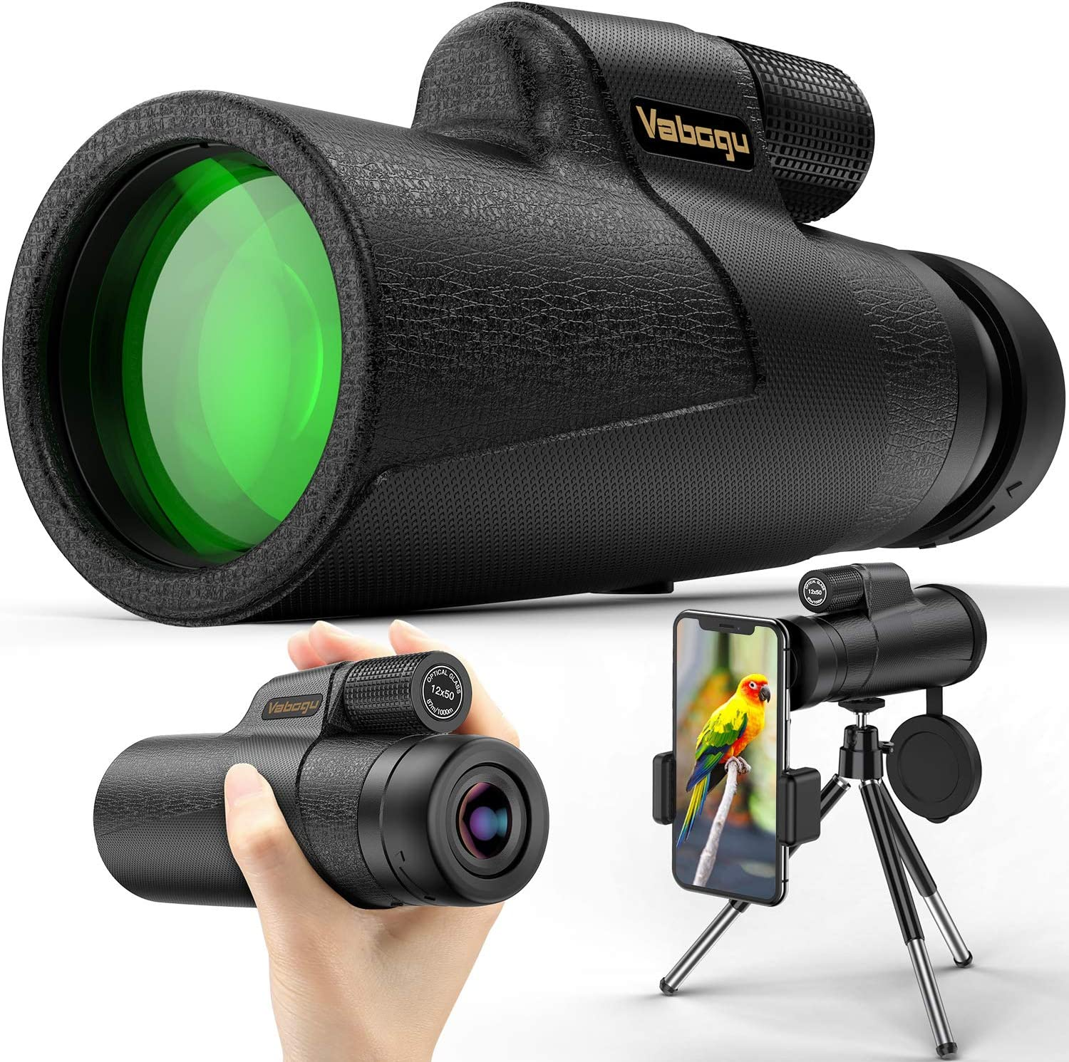 Monocular Telescope, 12x50 High Power HD Monocular for Bird Watching Adults with Smartphone Holder & Tripod BAK4 Prism for Wildlife Hunting Camping Travelling Wildlife - 2020 Newest (1250, Black) : Camera & Photo