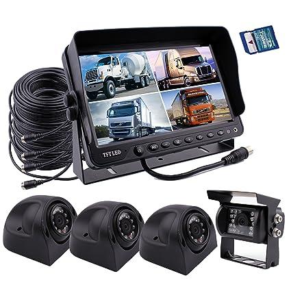 Zhiren Sistema de seguridad para cámara de seguridad de coche, monitor de 9 pulgadas,