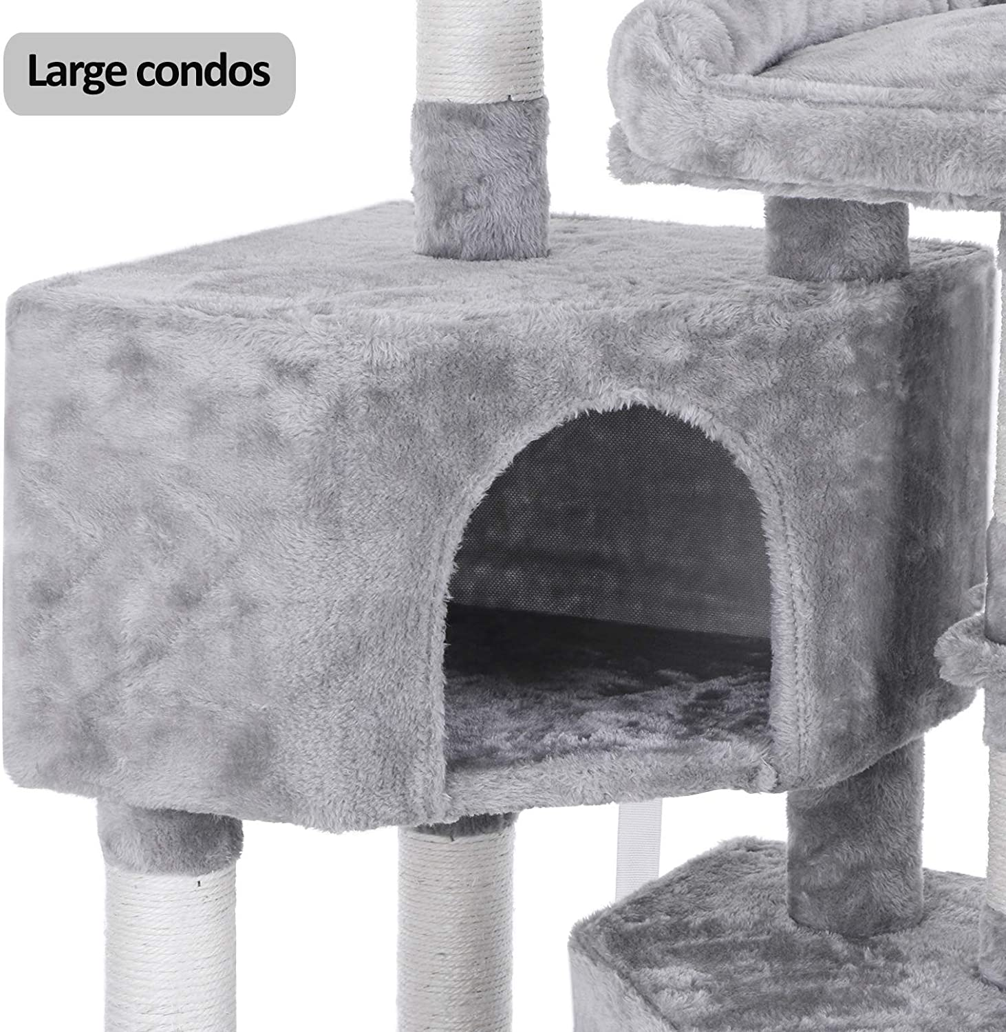 BEWISHOME Multi-Level Cat Tree Condo with Sisal Scratching Posts, Perches, Houses, Hammock and Baskets, Cat Tower Furniture Kitty Activity Center Kitten Play House Light Grey MMJ05G : Pet Supplies