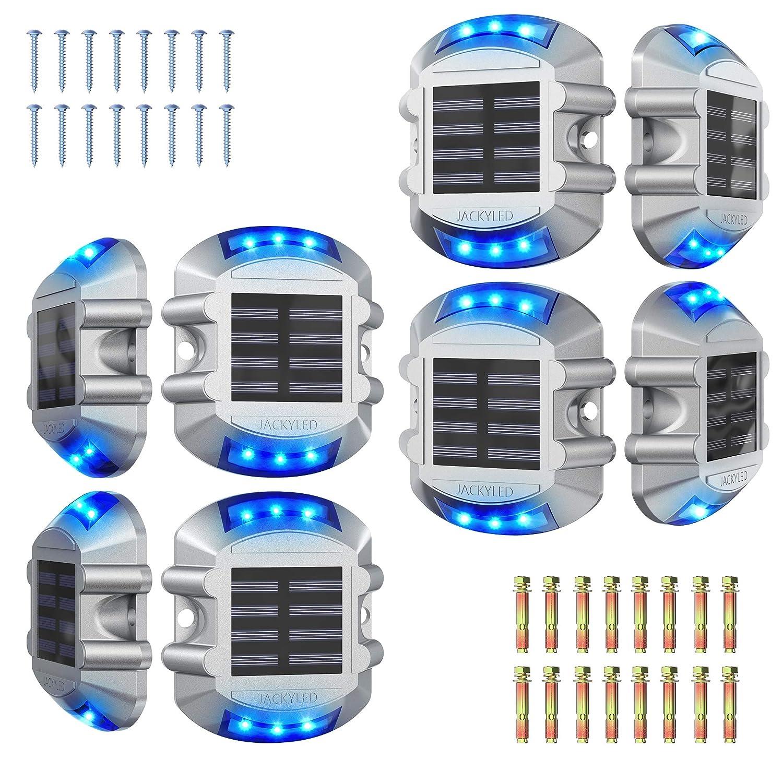 Solar Driveway Marker Lights 8-Pack JACKYLED Solar Powered Dock Lights