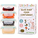 Glass Baby Food Storage Containers with BPA Free Lid – 4 oz Mini Containers (4- Pack Gift Set)