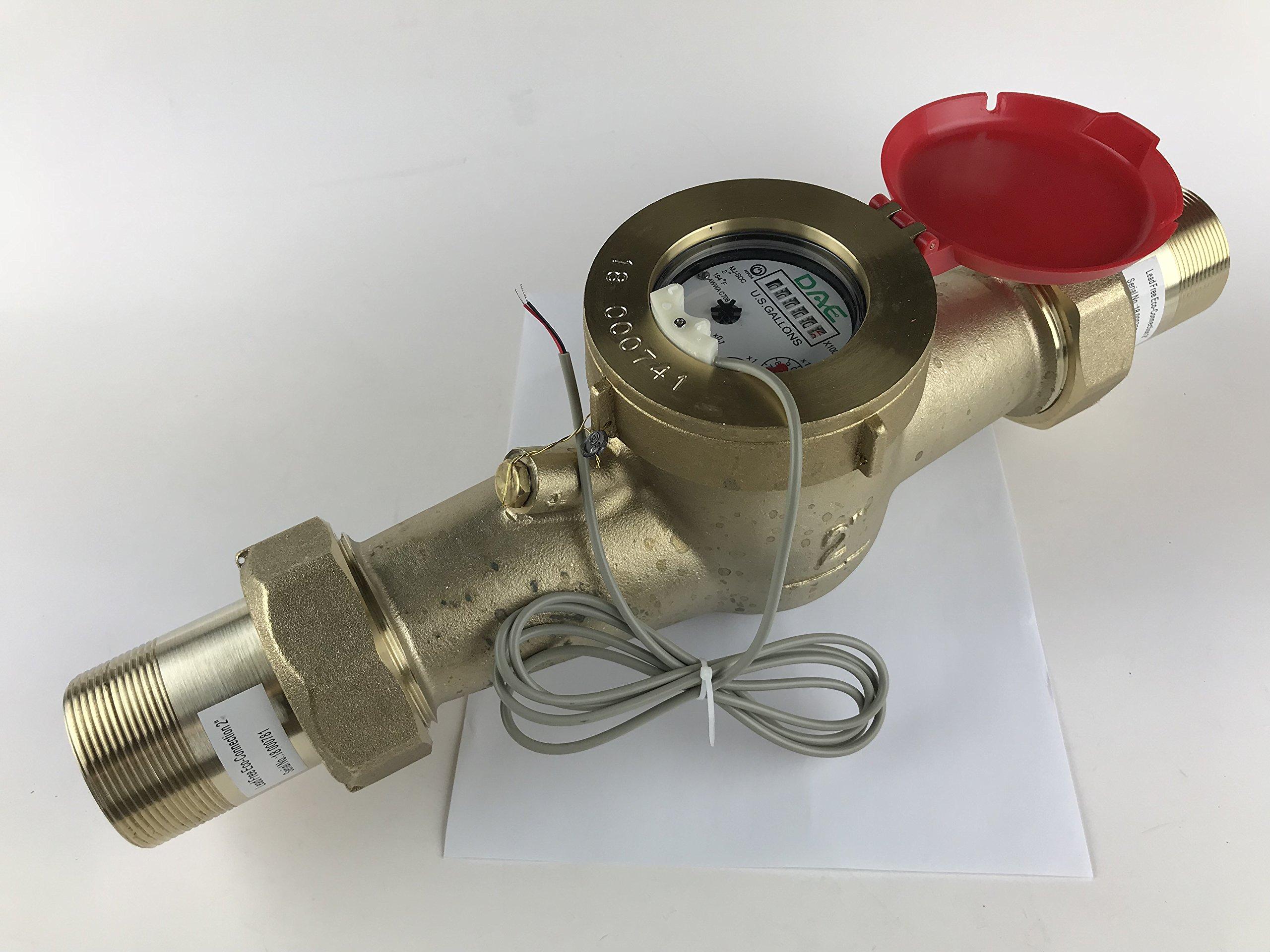 DAE MJ-200R 2'' Lead Free Hot Potable Water Meter, Pulse Output + Couplings