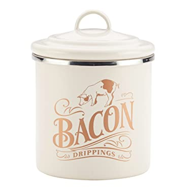 Ayesha Collection Enamel on Steel Bacon Grease Can, 4-Inch by 4-Inch, French Vanilla