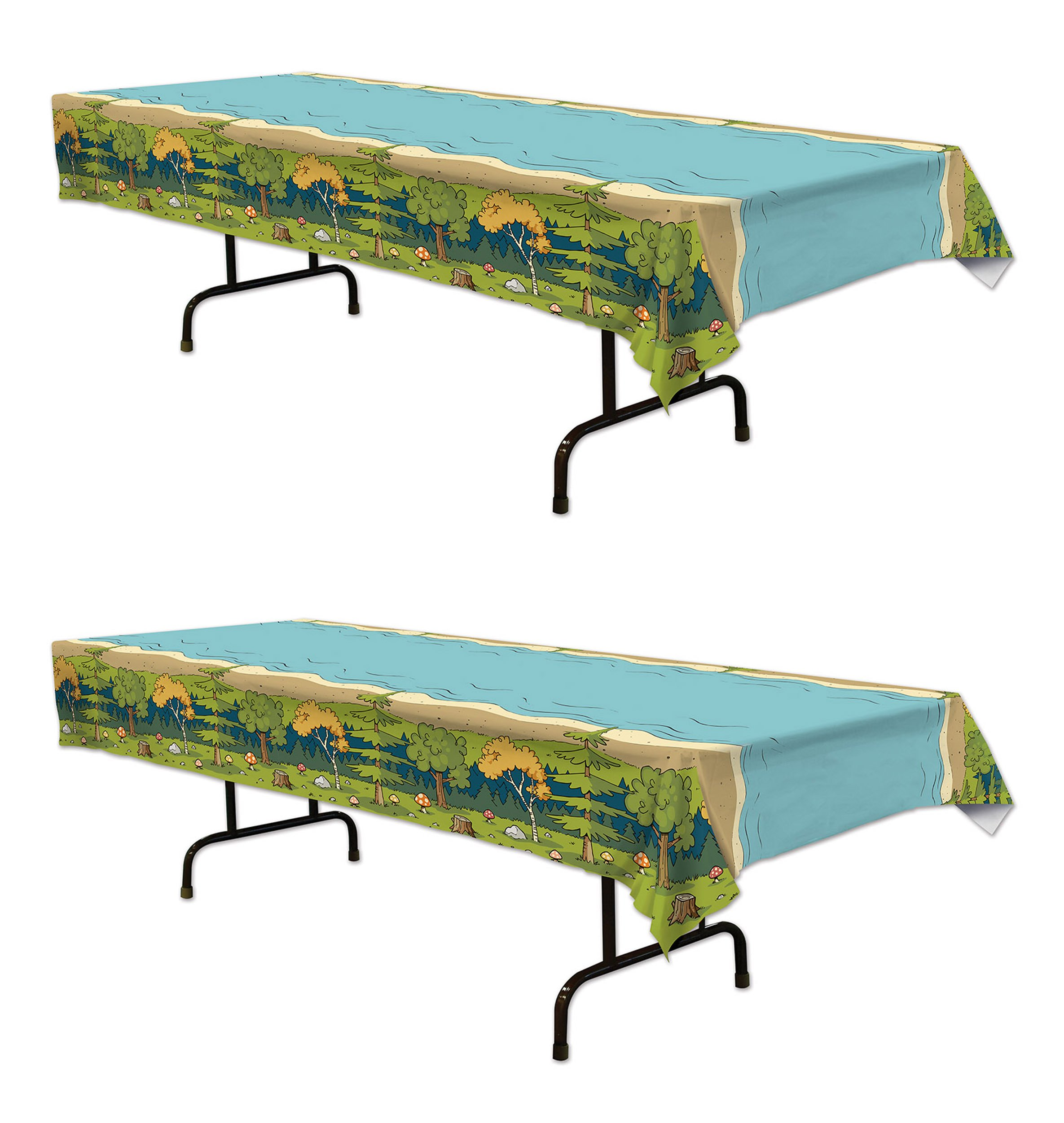 Beistle 59944 2 Piece Woodland Friends Table Covers, 54'' x 108'', Multicolor