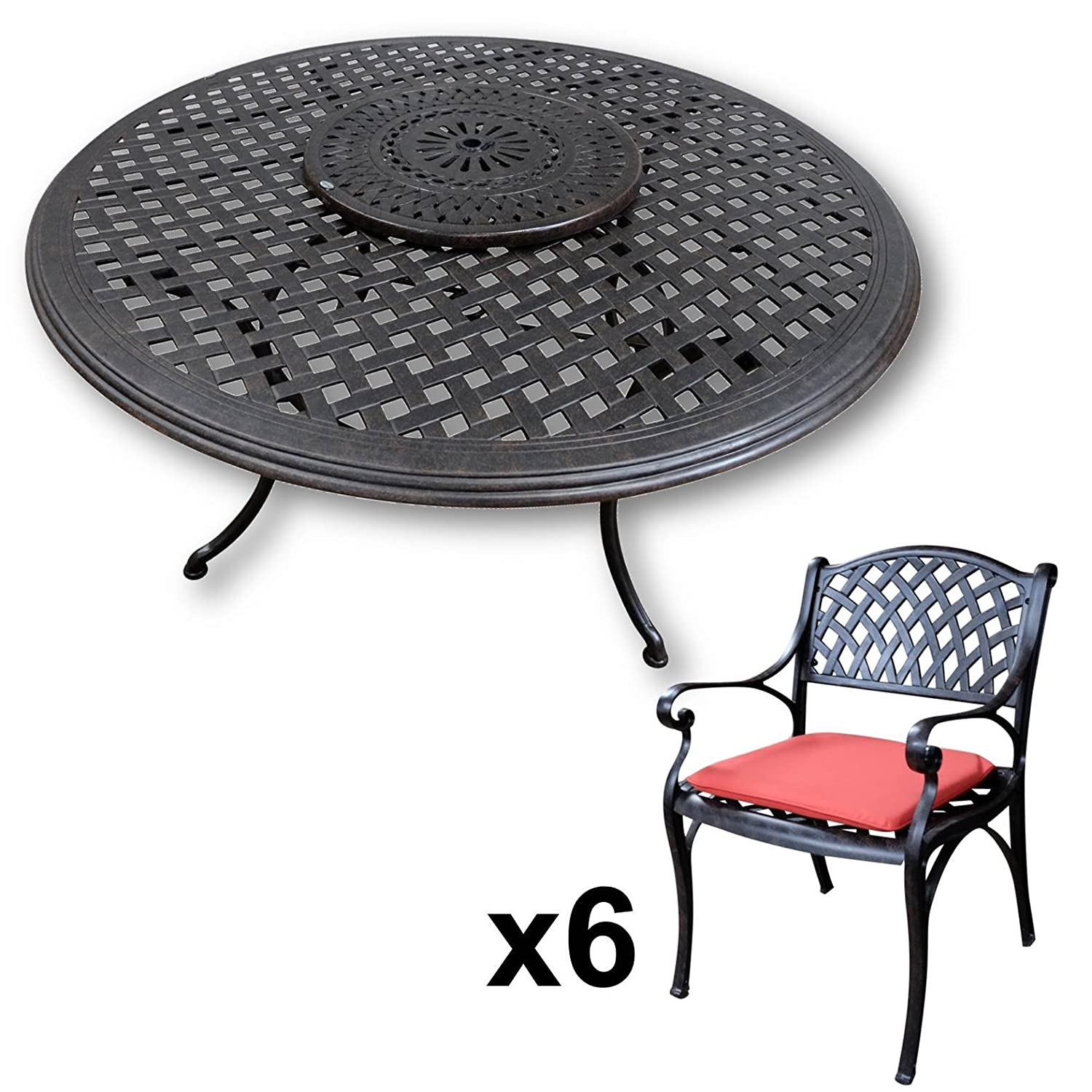 lazy susan valerie 150 cm runder gartentisch mit 6 st hlen gartenm bel set aus metall antik. Black Bedroom Furniture Sets. Home Design Ideas