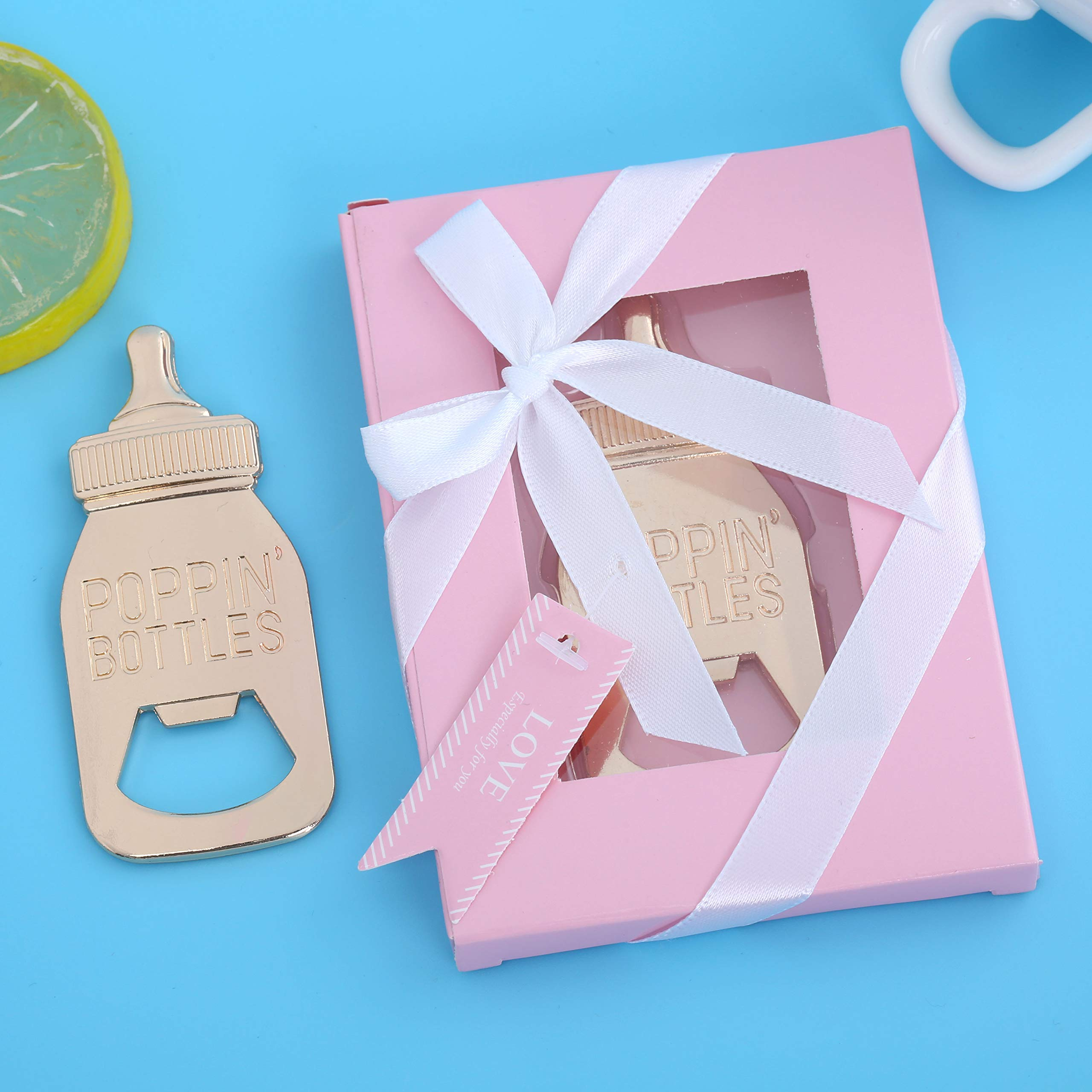 Pack of 24 Baby Shower Return Gifts for Guest Supplies Poppin Baby Bottle Shaped Bottle Opener Wedding Party Souvenirs Decorations with Blue Exquisite Packaging by WeddParty (Baby Bottle Pink 24pcs) by WeddPtyFr