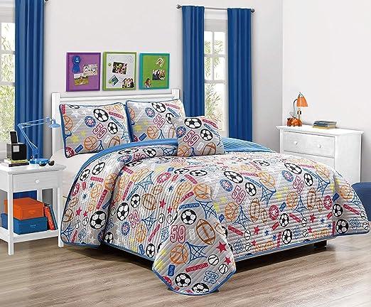 Full Elegant Home Sports Soccer Football Basketball Baseball Design Fun Multi-Color Grey Blue 4 Piece Quilt Bedspread Bedding Set with Decorative Pillow for Kids//Boys # Super Star