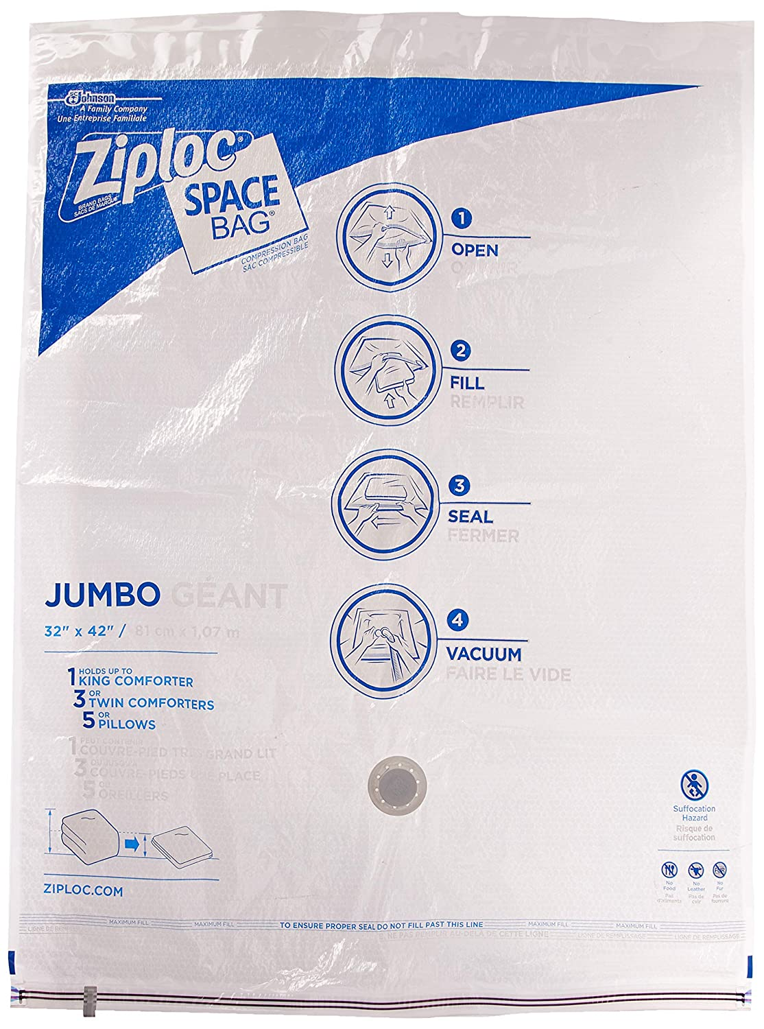 Space Bag, 2 Jumbo Vacuum Seal Storage Bags, Each, Clear, (35