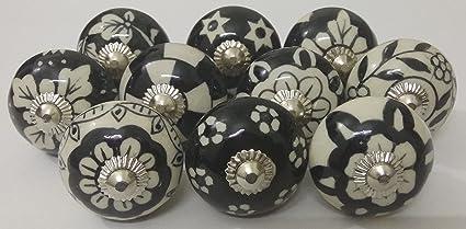 10 Black White Ceramic Knobs Handmade Handpainted Ceramic Door