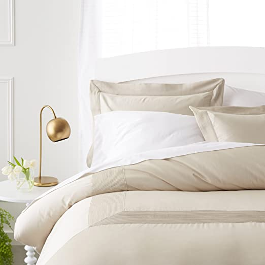AmazonBasics 400 Thread Count Cotton Duvet Cover Set with Sateen Finish