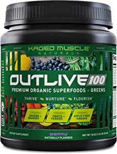 Kaged Muscle Outlive 100 Organic Superfoods and Greens Powder with Apple Cider Vinegar, Antioxidants, Adaptogen, Prebiotics,(Berry, 30 Servings)