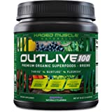 Kaged Muscle Outlive 100 Organic Superfoods and Greens Powder with Apple Cider Vinegar, Antioxidants, Adaptogen, Prebiotics,(