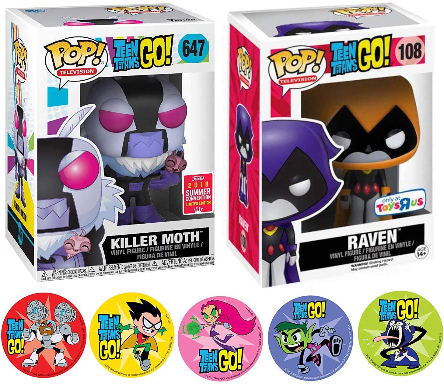 Beast Boy /& Cyborg 3 Item Bundle Action Stickers Funko Orange Raven Character Teen Titans Figure Hero #108 Bundled with Adventure Cartoon Toy Super Pop Pack Killer Moth Exclusive Raven Starfire