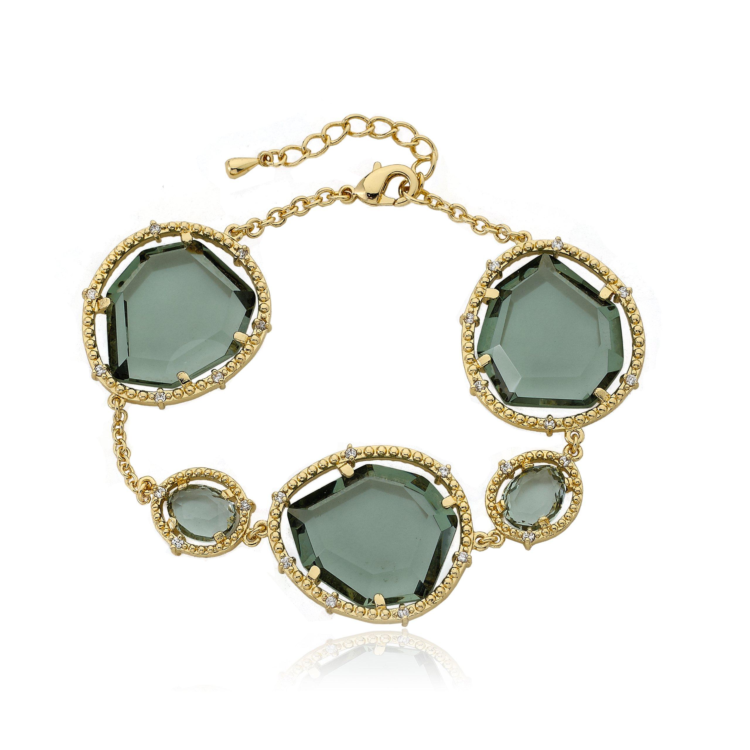 Riccova Sliced Glass 14k Gold-Plated Black Sliced Glass Chain Bracelet