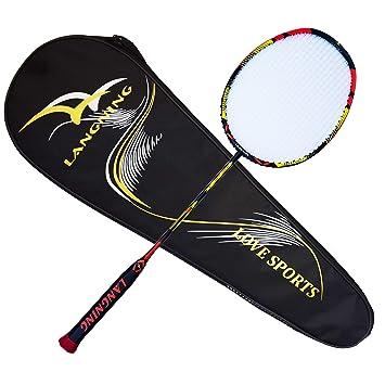 d3eb6a08beb Badminton Racquet Light Racket Set Carbon Fiber 7u Best Tournament Single  Shuttle Bat Carrying Bag -