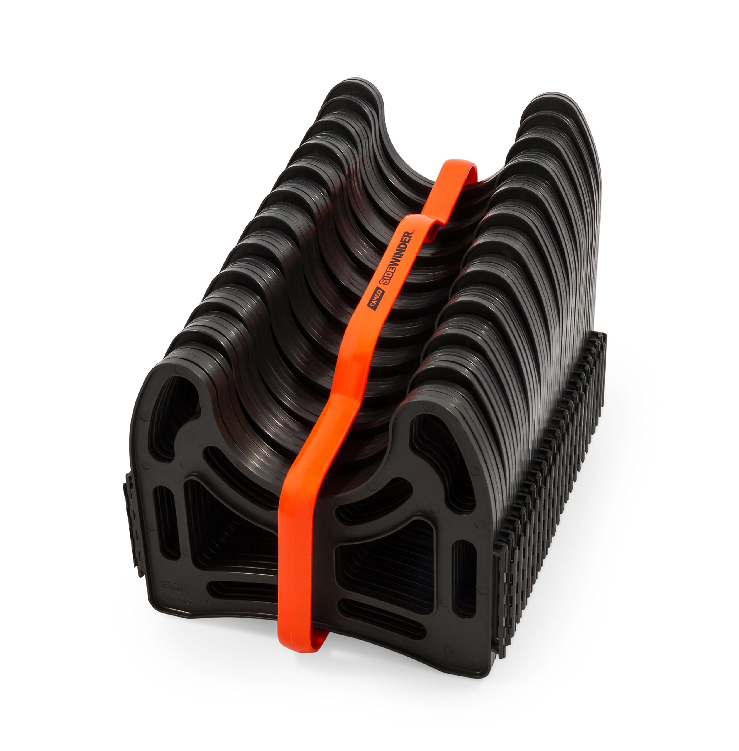 Camco 20ft Sidewinder RV Sewer Hose Support, Made From Sturdy Lightweight Plastic, Won't Creep Closed, Holds Hoses In Place - No Need For Straps (43051) by Camco