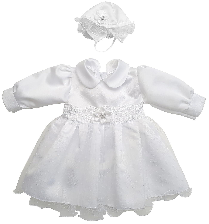 deine-Brautmode Kleid Babykleid Taufkleid Festkleid M/ütze M/ädchen Baby Taufe