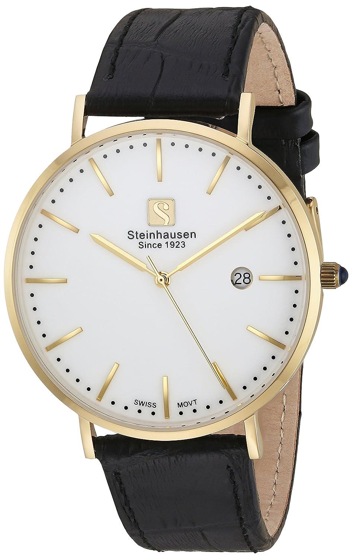 Steinhausen Herren S0521 Classic Burgdorf (Region Swiss Quarz Edelstahl Goldton Uhr mit schwarz Leder Band