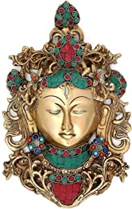 Brass Buddha Wall Hanging - Large Art Decor Sculpture Face Mask Home Office Décor with Stone Work 11 inches Approx