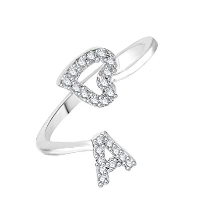Buy Meenaz Adjustable Freesize Silver Ring AAlphabet Rings For Girls And Women Online At Low Prices In India