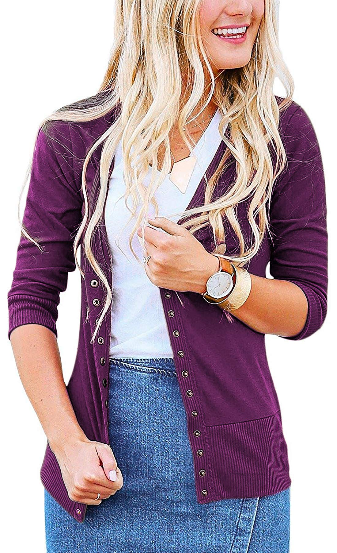 Steven McQueen Women's S-3XL Solid Button Front Knitwears 3/4 Sleeve Casual Cardigans Plum S