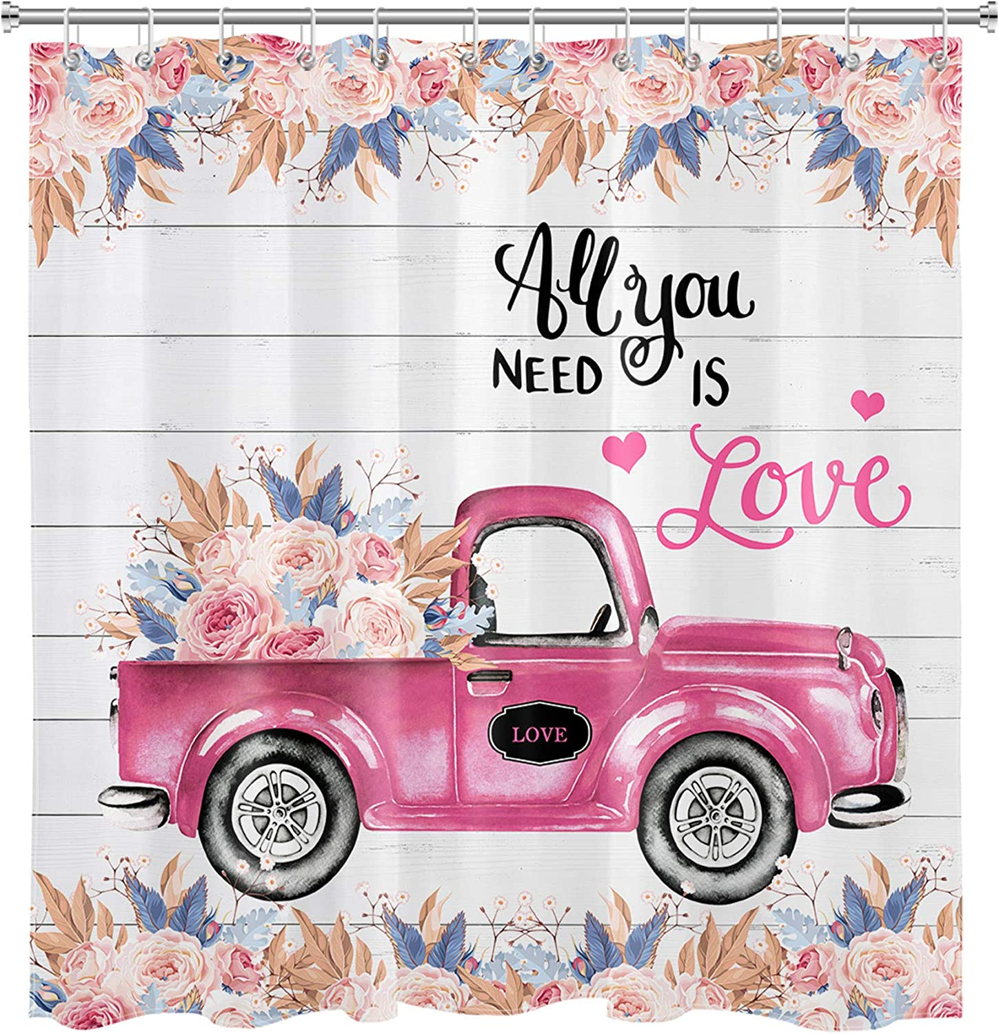 LB Vintage Truck Flower Shower Curtain Set Pink Rose Floral Love Decor Rustic Farmhouse Bathroom Curtain with Hooks 72x72 inch Waterproof Polyester Fabric Bathroom Decorations