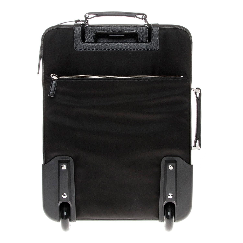 3e63207e5e54 Amazon.com: Prada Nylon and Saffiano Leather Trim Travel Trolley Black:  Clothing