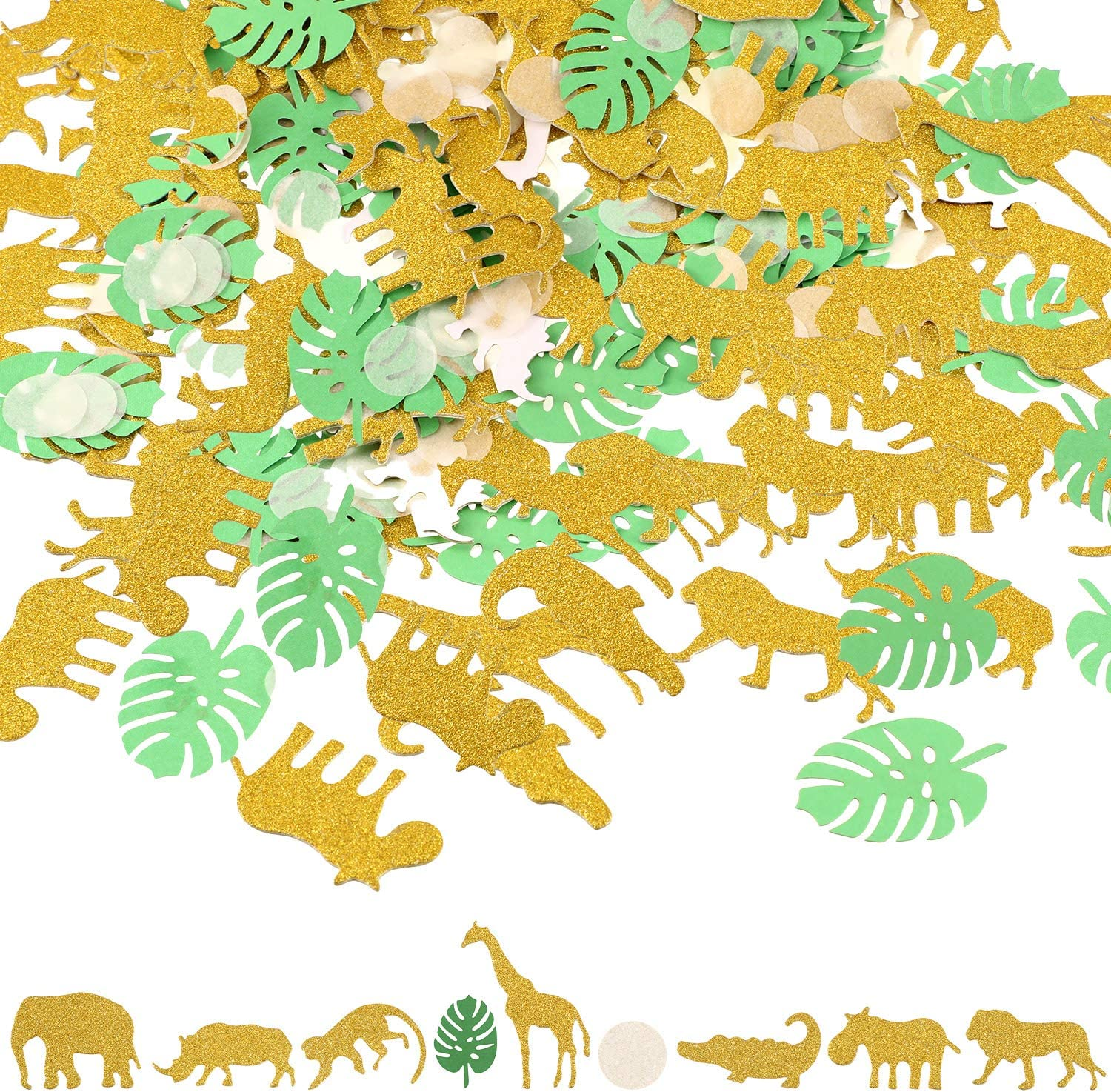 200 Pieces Jungle Animal Confetti Safari Theme Table Confetti Zoo Animal Shape Glitter Confetti for Baby Shower Birthday Party Supplies and Decorations