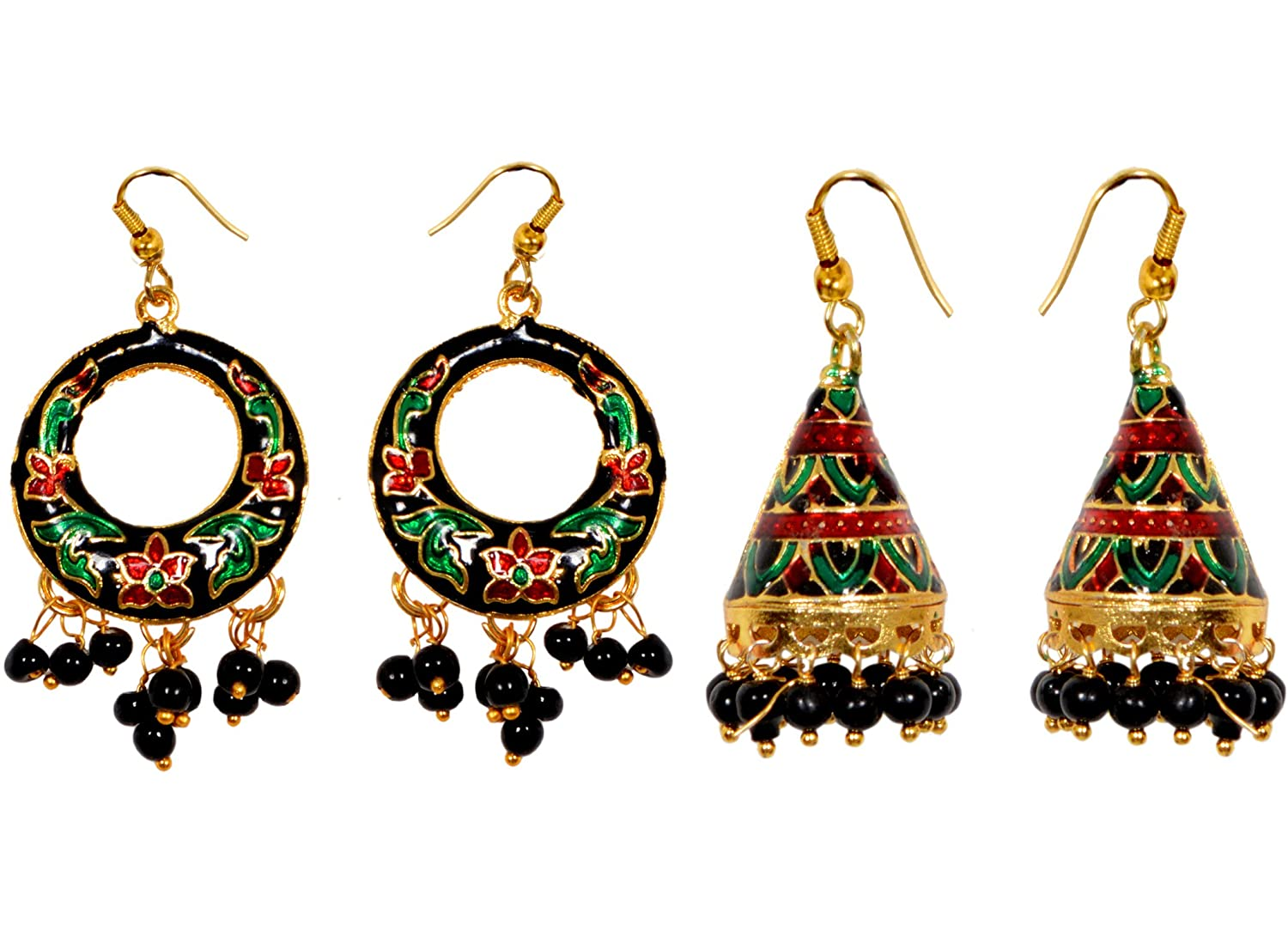 collection floral design jhumki traditional rajasthani color index wedding gold oxidised earrings green