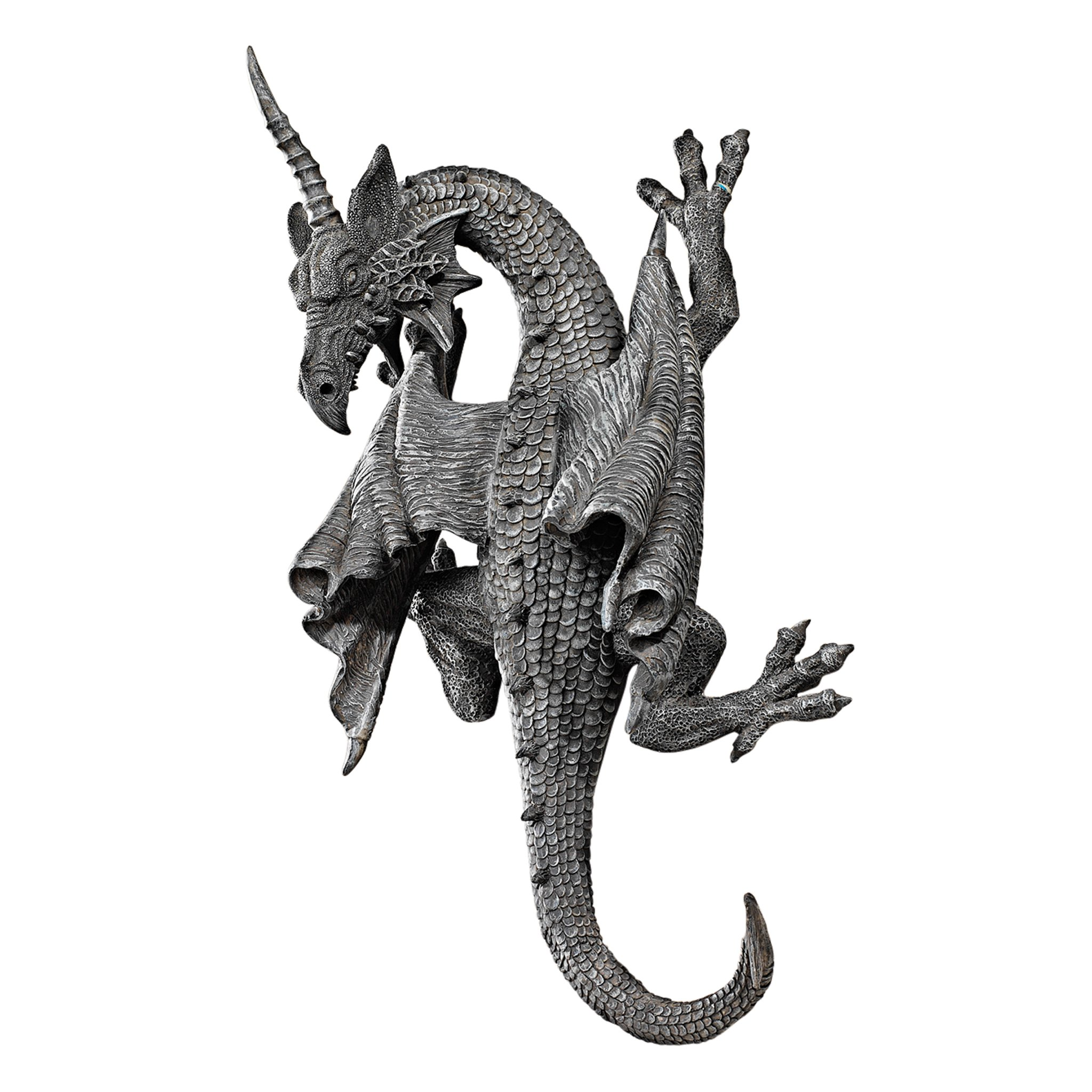 Design Toscano PD1376 Horned Dragon of Devonshire Wall Sculpture, 33 cm, Polyresin, Grey Stone