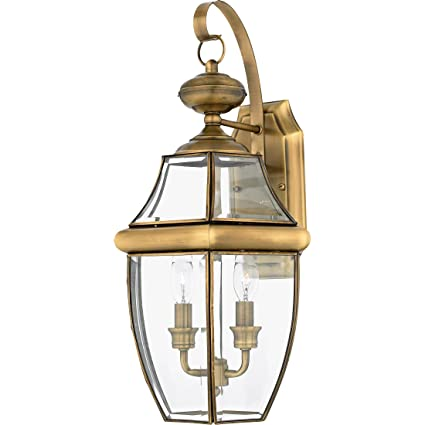 Quoizel ny8317a newbury 2 light outdoor lantern antique brass quoizel ny8317a newbury 2 light outdoor lantern antique brass aloadofball Images