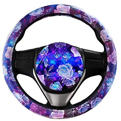 Evankin Steering Wheel Cover Cute and Handmade,PU Universal Steering Wheel Cover 15 inch, Fashionable Rose Flower Car Accessories for Women,Top Girl Car Accessories(Galaxy Rose): Automotive