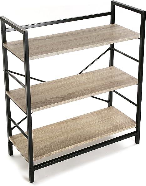 Versa 20880012 Estantería pared - Madera y Metal, 90x32x76cm, 3 estantes,Oficina: Amazon.es: Hogar