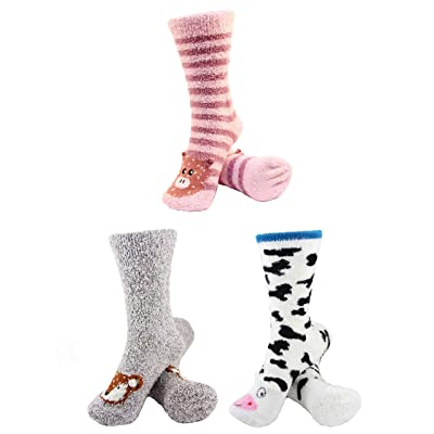 Super Soft Warm Cute Animal Non-Slip Fuzzy Crew Winter Home Socks - Assortment 01, 3 Pairs - Value Pack at Women's Clothing store