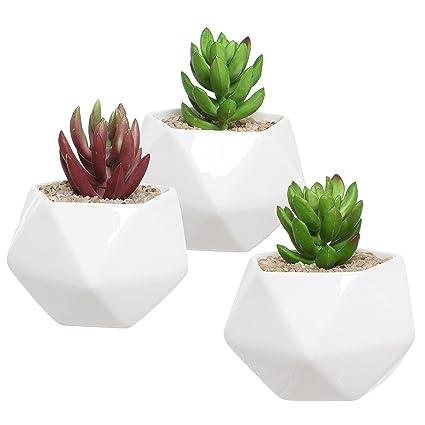 Set Of 3 White Ceramic Succulent Plant Pots / Geometric Design Miniature Indoor  Planters, 3