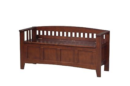 Merveilleux Linon Short Back Storage Bench, Walnut